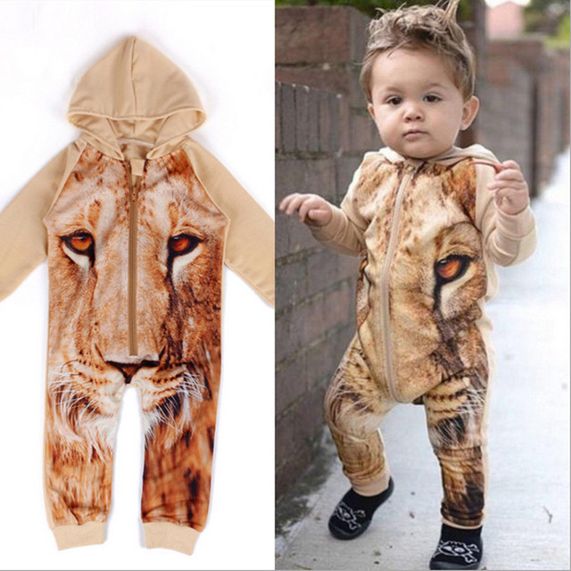 2016 New Spring Baby Romper Long Sleeve Tiger Children Clothing for Boy Clothes Kids Jumpsuit Overalls Baby Animal Costumes P11