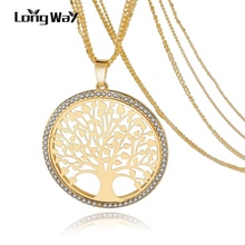 LongWay Fashion Silver Gold Crystal Necklace With Tree Of Life Pendant Long Multilayer Necklace Women Female Jewelry Sne160124