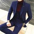 3 шт. Костюм Мужчины Классический Черный Бизнес Торжественная одежда Платье Костюмы британский Slim Fit Длинные Блейзер Плюс Размер мужская Одежда 5XL