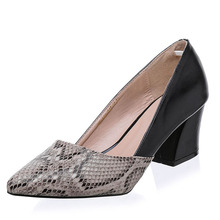 Snakeskin Pattern Women Pumps Sexy Pointed Toe Microfiber Leather High Heels Shoes Woman Zapatos Mujer Tacon