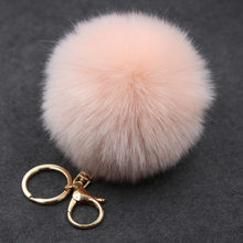 17 Colors Trinket Keychain Pompons Keychains Fur Keychain Fluffy Key Chains for Cars Keyrings Trinkets Pom Pom Keychain(China)
