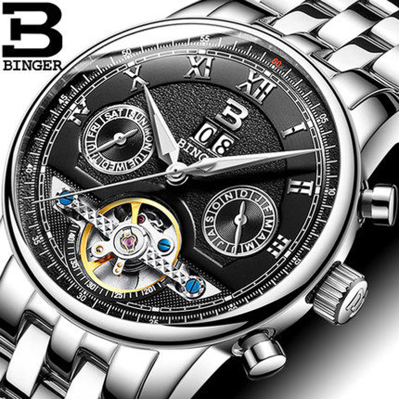 Genuine Luxury Switzerland BINGER Brand Men Self-wind waterproof automatic mechanical watch male Luminous Tourbillon Table genuine switzerland binger brand men automatic mechanical luminous calendar waterproof sports chronograph military gold watch