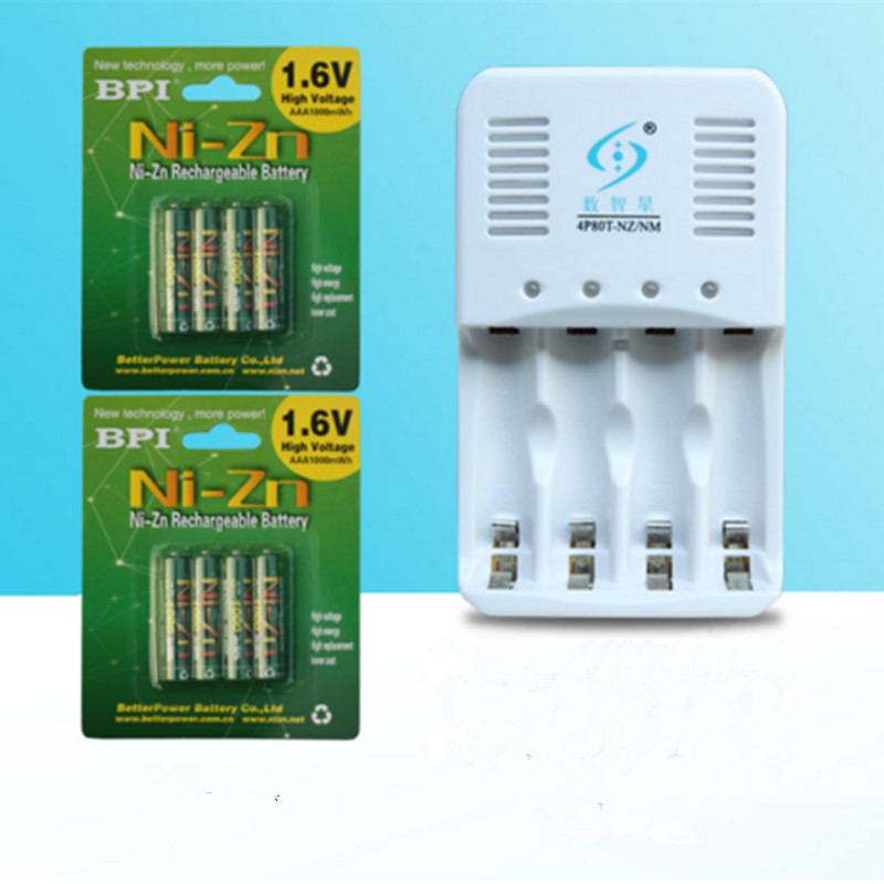 Puissant 8 pièces 1.6 v aaa 1000mWh batterie rechargeable nizn ni-zn aaa 1.5 v batterie rechargeable + 1 pc aa/aaa chargeur