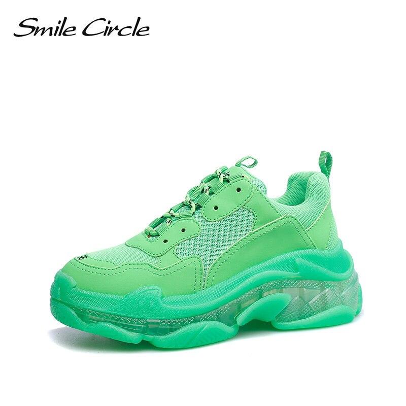 Sourire cercle grande taille 35-43 chunky chaussures femmes baskets 2019 printemps mode à lacets plate-forme chaussures décontractées femmes
