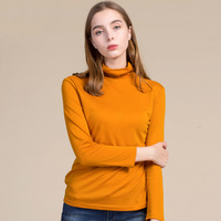 2017 Autumn Winter New Fashion Siilk Wool Turtleneck Shirt Sweater Slim Pullover Style Women Shirt