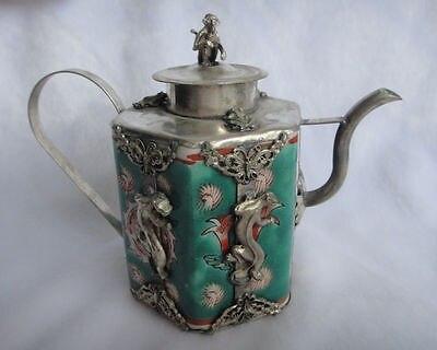 Китайский ручной декор ящерица бабочка голубой цветок фарфоровый чайник Будды украшения сада 100% Настоящее Тибетский серебро латунь