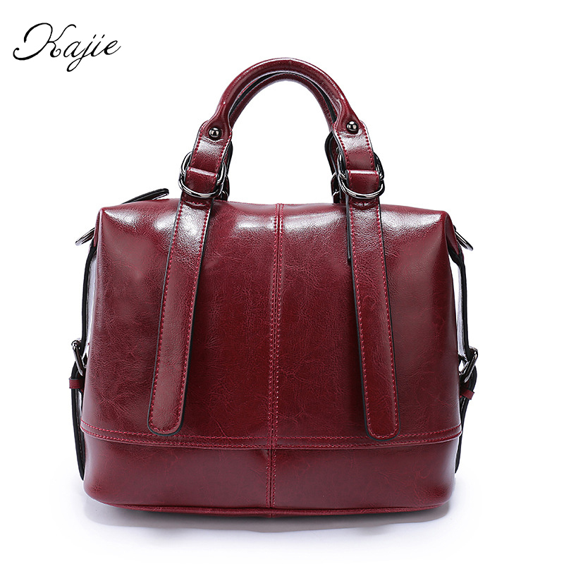 Ladies Genuine Leather Shoulder Bags High Quality Luxury Handbags Women Bags Designer Brand Boston Crossbody Bag Tote Sac A Main women tote bag designer luxury handbags fashion female shoulder messenger bags leather crossbody bag for women sac a main