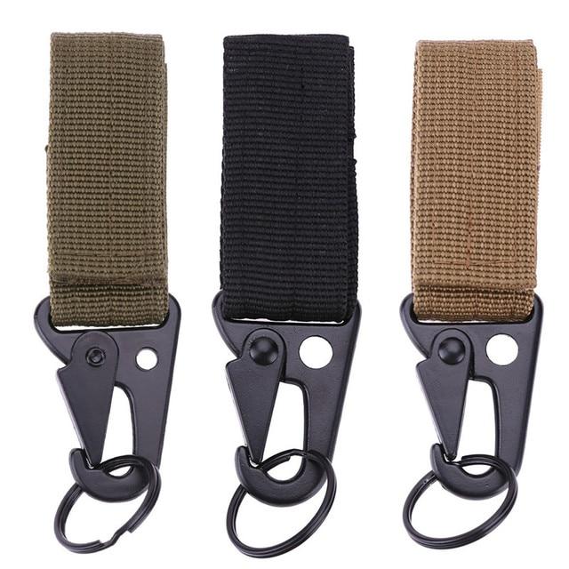 10cm Carabiner for Keys Nylon Belt Metal Hook Webbing Buckle Hanging Belt Buckle Molle Camping Belt Buckle with Key Ring
