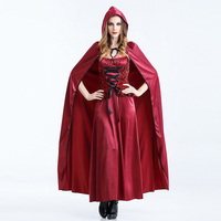 DJGRSTER Gothique Sexy Vampire Costume Avec Capuche Costume Sexy Vampire Costume Femmes Mascarade Halloween Party Cosplay Costume