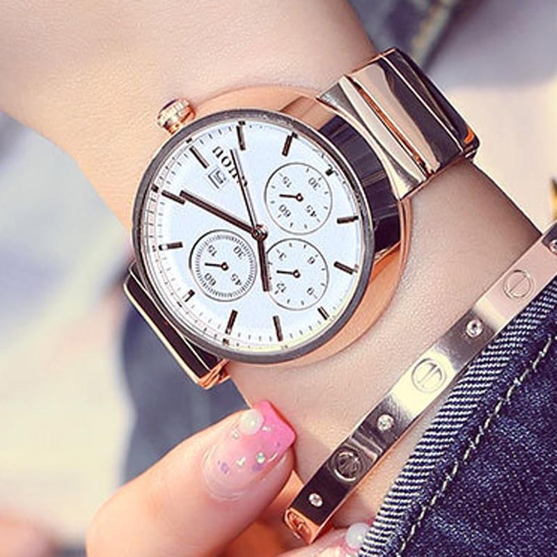 GUOU Simple Fashion Watch Women Watches Stainless Steel Rose Gold Wristwatch Women's Watches Clock relogio feminino reloj mujer