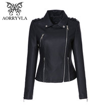 AORRYVLA 2017 New Autumn Leather Jacket Women Motorcycle Short Coats Fashion Blue Turn-Down Collar Zippers Faux Leather Jacket
