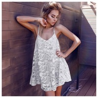 TFGS Women High Waist V Neck Loose Dresses Straps White Lace Patchwork Sleeveless Vogue Casual Beach