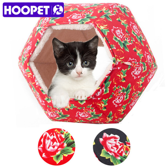 HOOPET Pet Dog Cat Chinese Style Hexagon Warm Soft Bed House Sleeping Bag Cuddly Cave Tunnel Cama Gato