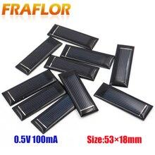 100 pçs mini painel solar diy células solares acessórios módulo fotovoltaico módulo fotovoltaico 0.5v 100ma 53*18*2.5mm frete grátis