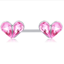 2pcs stainless steel double heart nipple piercing rings women punk crystal nipple rings bar stud adult body piercing jewelry