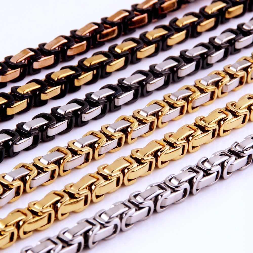 "4mm 5mm 8mm Wide Silver Gold Black Color Stainless Steel Byzantine Box Chain Necklace Or Bracelet Mens 7-40"" Free Choose Jewelry"