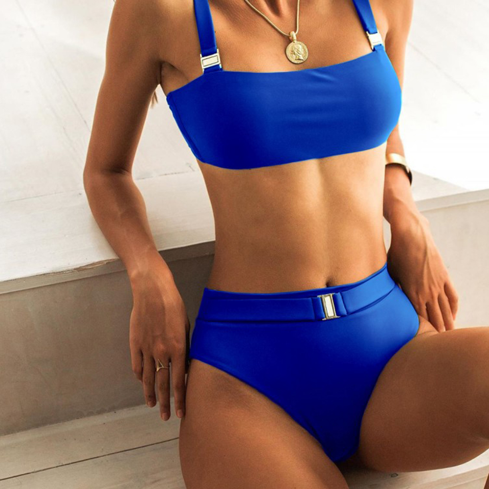 ZTVitality Sexy Push Up Bikini 2020 New Arrival Solid Padded Bra Buckle Belt Bikinis High Waist Swimsuit Swimwear Women Biquini 4