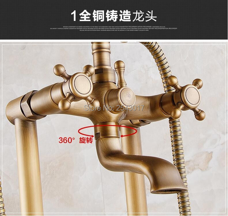 New Arrival Bathtub Shower Set Antique Brass Floor Stand Bath Shower Faucet Deck Mounted Dual Handle with Hand Shower ZR26