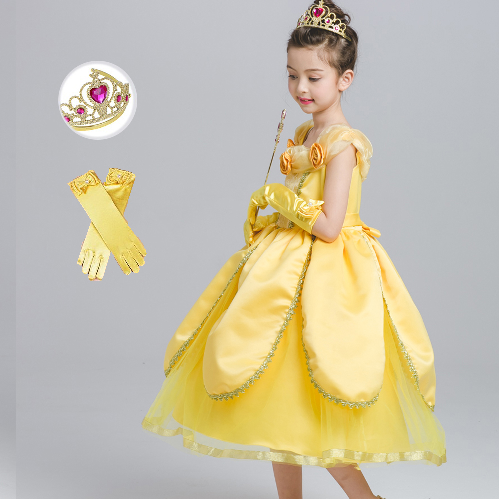 Children's day 2018 Yellow Fancy Princess Belle Dress Beauty And Beast Kids Girls Costumes Princess Ball Gown Formal Costume nnw beauty and the beast belle cosplay princess fancy kids costumes grils yellow dresses with sleeve hight quality