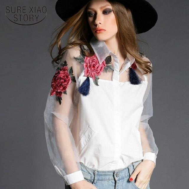572ceeb91fdae1 2018 moda kobiety bluzka koszula blusas femininas haftowane kwiaty organza  z długim rękawem szyfonowa biała bluzka