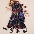 [Sour lemon] multifuncional suave chales y bufandas mujeres de la impresión de estilo bohemio bufandas cachecol feminino bufanda-colgante