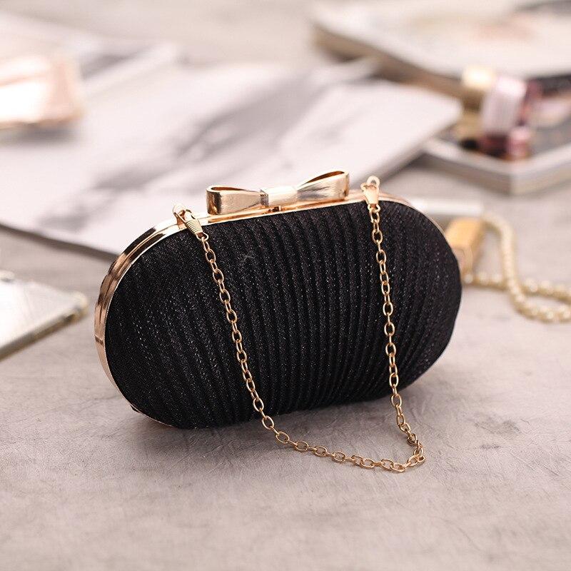 2018 Mini Plicated Elegante Vrouwen Clutch Bag Vrouwelijke Strik Kampioen Schoudertas Gouden Avond Party Bag Banket Zakken Zacht En Licht