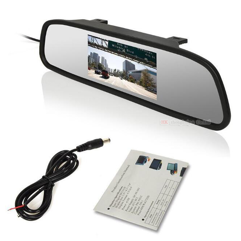 4.3 inch Car Rearview Mirror Monitor Auto Parking Video+Night Vision Backup 2.4g Wireless Camera CCD Car Rear View Camera    2