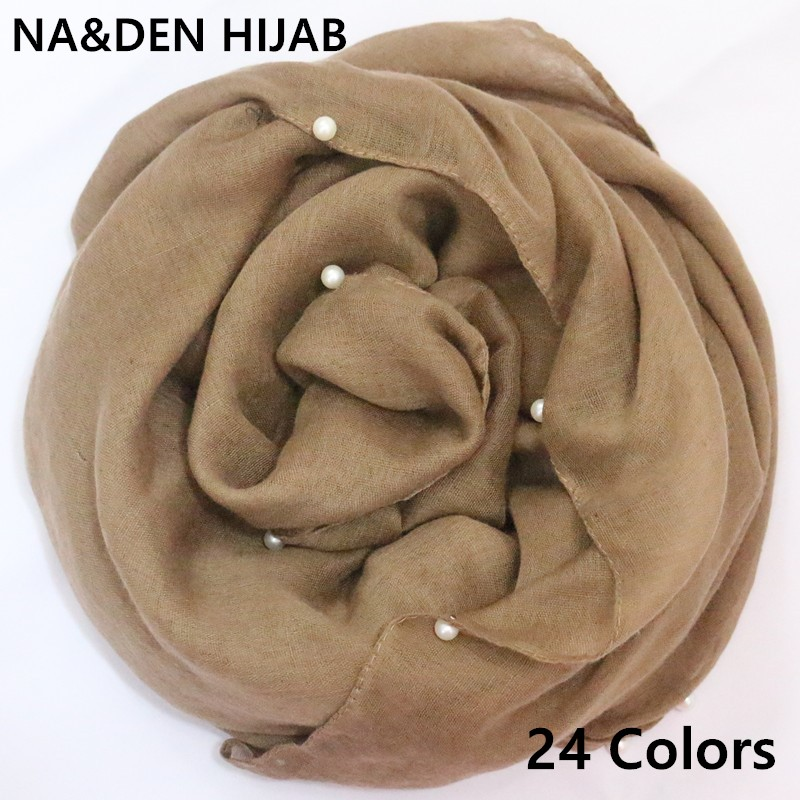 Women fashion pearls hijabs viscose solid shawl nice beads   scarf   muslim head   wraps   elegant   scarves   2pcs/lot Hot Sale 30 Colors