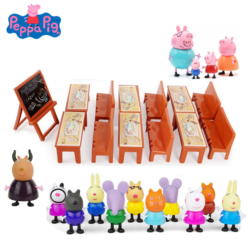 New Peppa Pig George Friend School Desk Set Toys Piggy Teacher Action Figure Model Dolls Family Set Children Toy Gifts