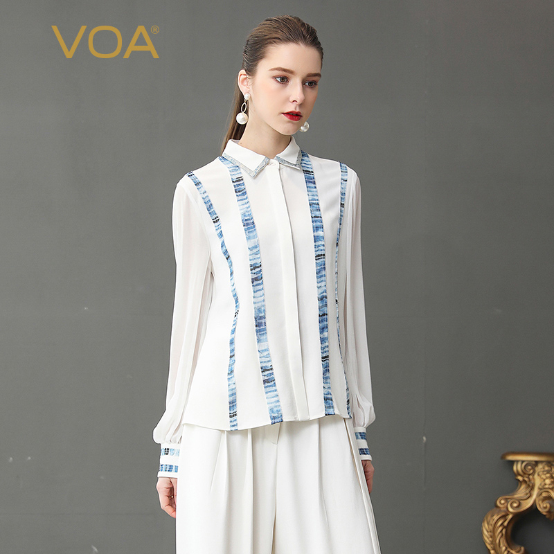 45d05eb7 VOA Heavy Silk Blouse Georgette Office Shirt Plus Size 5XL White Women Tops  Casual Stripe Print Basic Long Sleeve Spring B330-in Blouses & Shirts from  ...