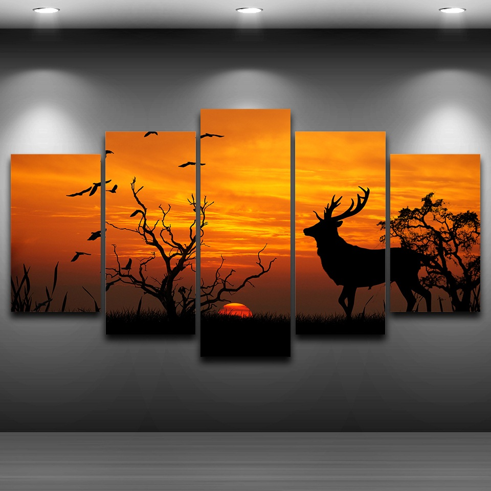 Framed Abstract 5 Panel Animal Deer Modern Home Deco Canvas Print Painting Wall Art