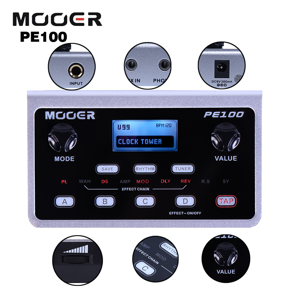 Mooer 39 Types Of Effects 99 Presets 40 Drum Patterns and 10 Metronomes PE100 Portable Multi Guitar Effects Pedal деловой костюм effects of color 044