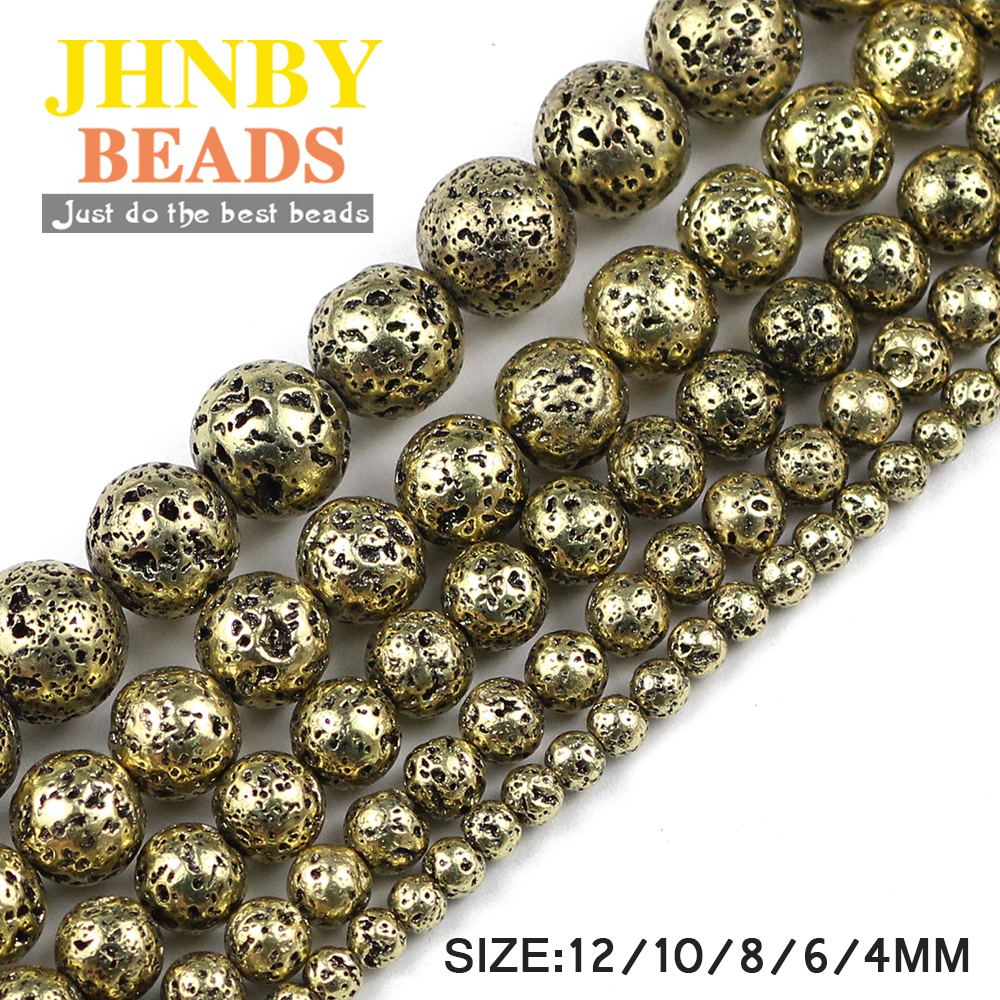 JHNBY Bronze Gold Natural Lava Stone 4.6.8.10.12MM 15inch Round Loose Beads For Jewelry Necklace Bracelet Making DIY Accessories