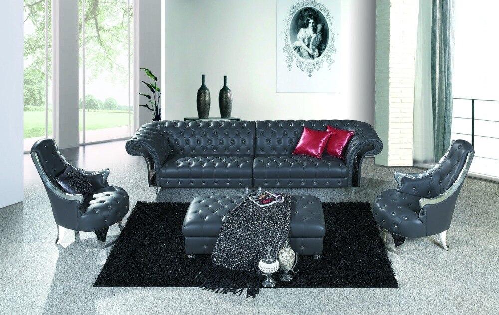 Muebles de sala de cuero rojo taburete con cristal buttoms Sala ...