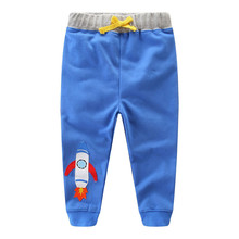 Kids Boys Pants Cotton Trousers Boys Clothes Character Cartoon Rocket Print Kids Cartoon Drawstring Sweatpants