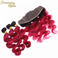 7A Vietnamese 1B/99J Burgundy Ombre Hair With Frontal Closure Body Wave Burgundy Frontal With Bundles Ombre Bundles With Closure