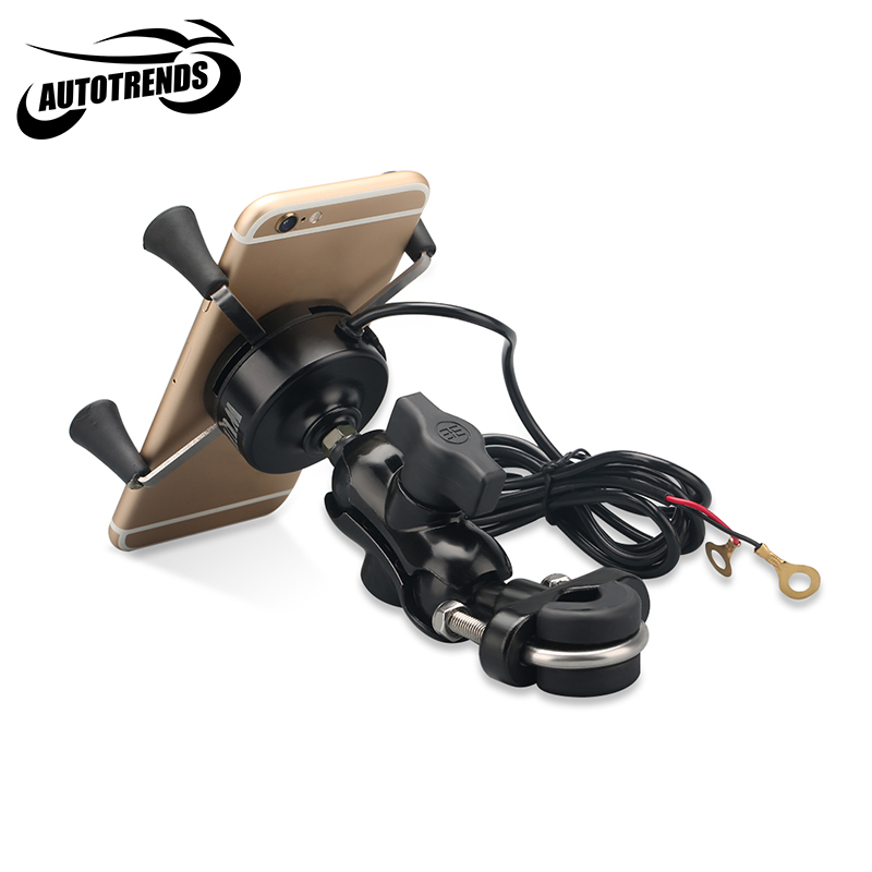 imágenes para Universal de La Motocicleta Manillar de la Bici Monte X-apretón de Teléfono Celular Titular de GPS con 5 V 2A Cargador USB