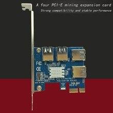 PCIe 1 à 4 PCI Express 1x à 4 Port 16x Riser carte PCI-E 1X à Fente Externe Adaptateur USB 3.0 Port Carte Multiplicateur pour BTC