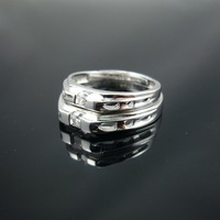 Hotsale One Crystal CZ Adjustable Size Beautiful 925 Sterling Silver Wedding Ring For Lover