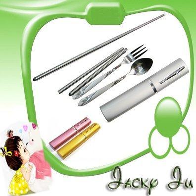 Free Shipping New Stainless Steel Foldable Chopsticks Fork Spoon Knife Tableware Travel Kit Set