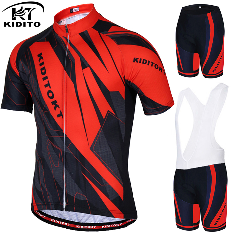 KIDITOKT Anti-UV Pro Summer Cycling Jersey Set Men MTB Bicycle Cycling Clothing Suit Breathable Racing Bike Bib Clothes Suit