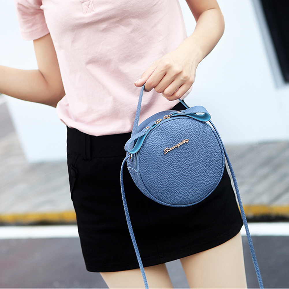 Women Leisure Sling Shoulder Round PU Leather Crossbody Handbags Zipper Closure Messenger Bag Tote Fashion Exquisite Casual Cute
