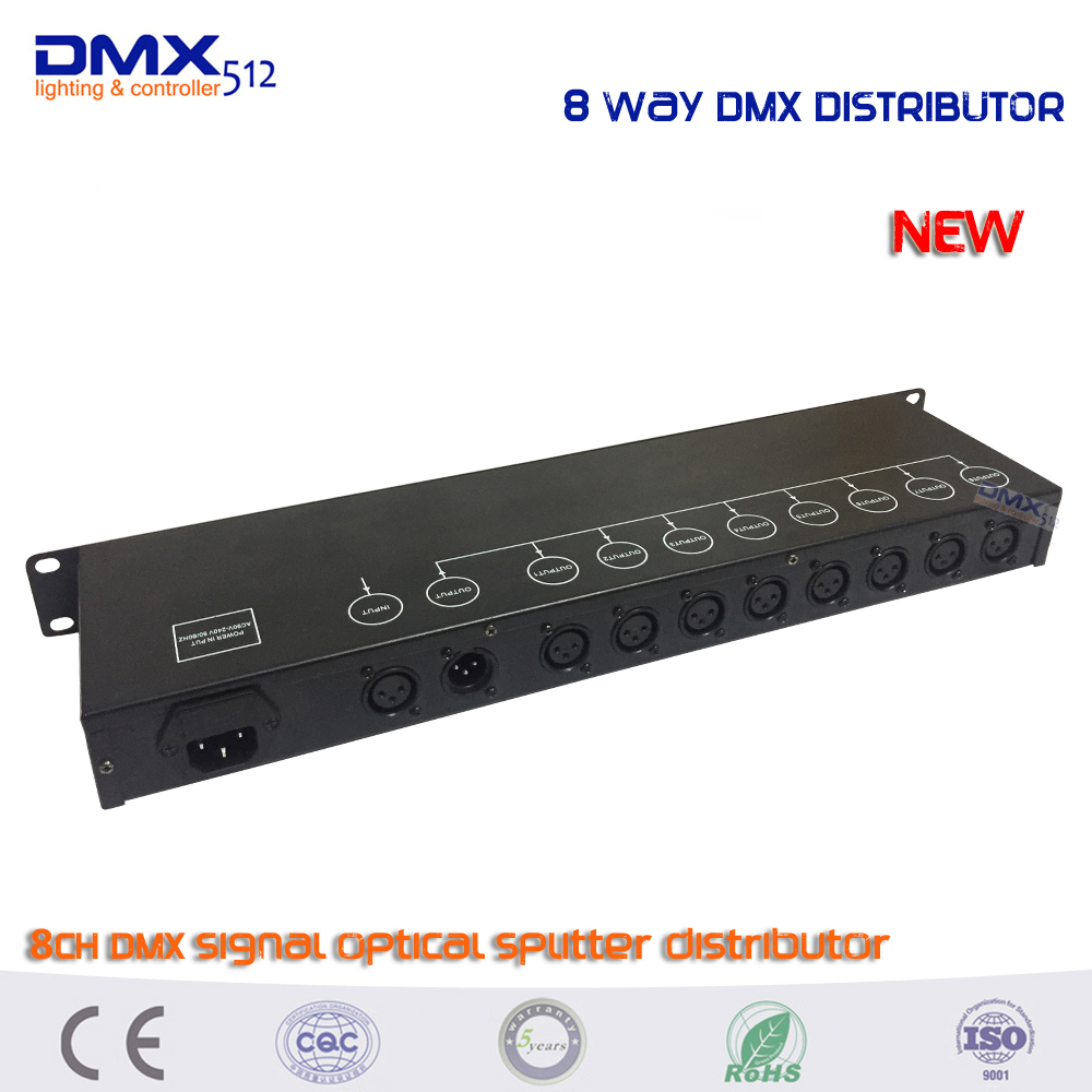 купить DHL Free shipping HOT sale 8CH DMX Splitter 8-way DMX Distributor 8-way dmx signal splitter factory directly sale