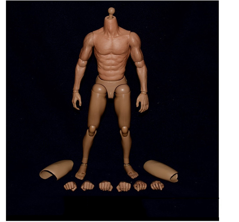 16 Scale Male Body Figure Nude Muscular Narrow Shoulder Figures Asian Color for Donnie Yen Bruce Lee Action Figure Doll Toys
