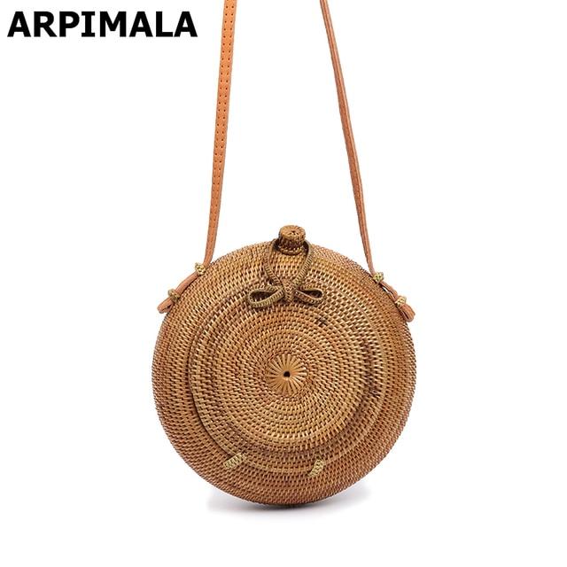 Arpimala Bali Round Rattan Bag Famous Brand Designer Beach Bags For Women Fashion Blogger Straw