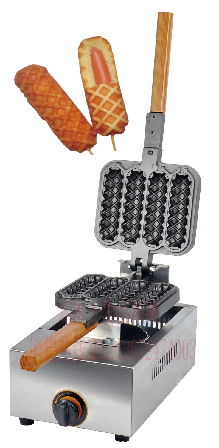 Free shipping Gas type 4 pcs hot dog lolly waffle machine hot dog grill come with recipe