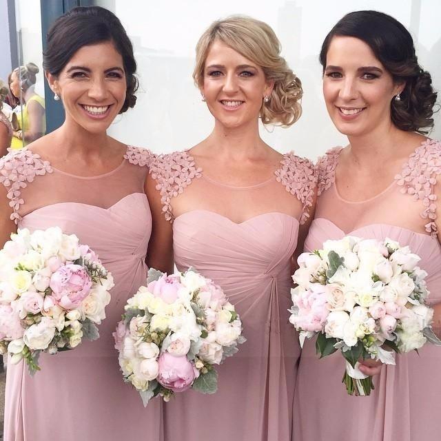 462ac5b8395 2017 long bridesmaid dresses round collar snow spins A - lline dusty rose  pink bridesmaid dresses wedding dress BT78