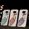 2016 venta caliente nueva nueva crystal bling del pavo real 3d case cubierta para samsung galaxy s6 g9200 agradable