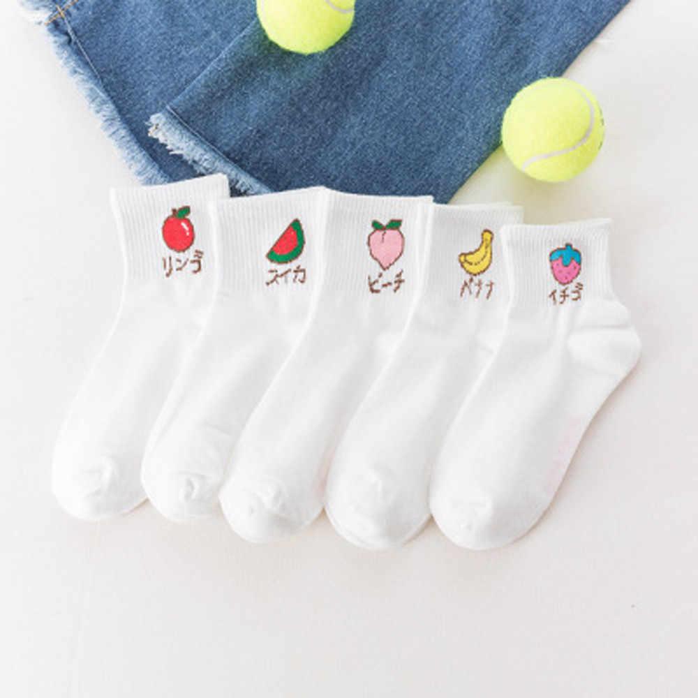 2019 חדש סתיו קיץ נשים הדפסת Kawaii טרי פירות גרבי לבן נוח כותנה גרביים באיכות גבוהה calcetines Xew