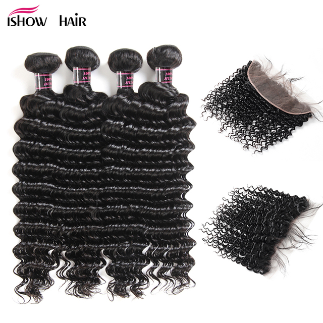 Ishow Deep Wave Human Hair Bundles With Closure 4 Bundles Brazilian Hair Weave Bundles With Lace Frontal Closure Non Remy Hair